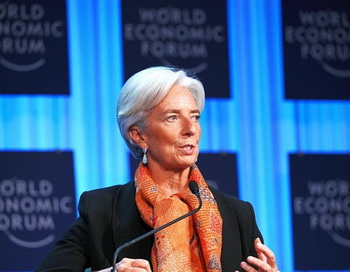 Кристин Лагард из Франции, управляющий директор Международного валютного фонда (МВФ), на мировом экономическом форуме (WEF) в швейцарском курорте Давос, 28 января. Фото: VincenzoPinto/AFP/Getty Images