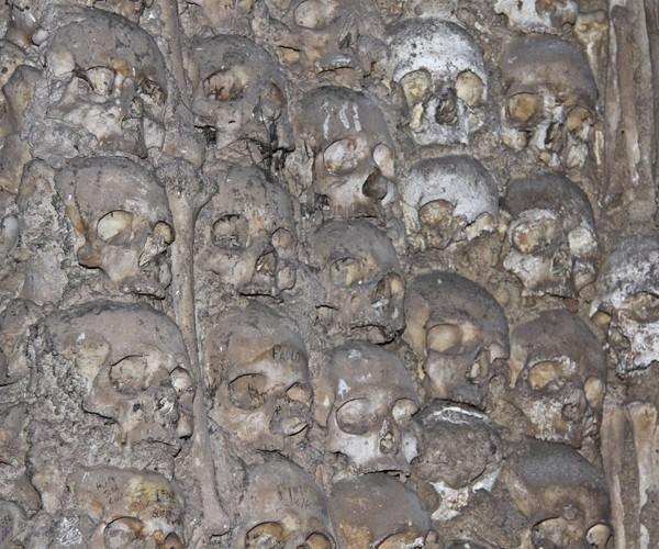 Черепа и кости на часовне костей (Capela dos Ossos) в церкви Св. Франциска (Igreja de Sгo Francisco). Фото: Майкл Варга