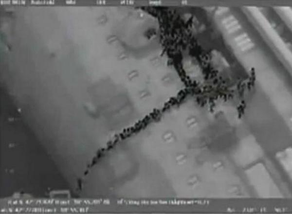 Фотографии «Costa Concordia», сделанные со спутника. Фото: news.zhengjian.org