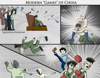 Олимпийские игры в Пекине прошли 4 года назад, но в Китае продолжают играть в различные любопытные «игры». Среди игроков — партийные «тяжеловесы» Чжоу Юнкан и Бо Силай. Карикатура: Джефф Ненарелла/Великая Эпоха (The Epoch Times)