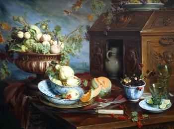«Монументальный натюрморт с фруктами», 2007, холст, масло на панели, является одной из четырех картин Ханса Лааглэнд по заказу Дж. Морсебюрг в Лос-Анджелесе. Фото предоставлено Хансом Лааглэндом
