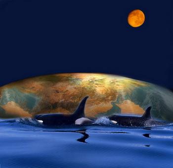 Бабушка рассказывала, что Земля стоит на трех китах, которые плавают в огромном море. Иллюстрация: Ирина Рудская/Великая Эпоха (The Epoch Times)