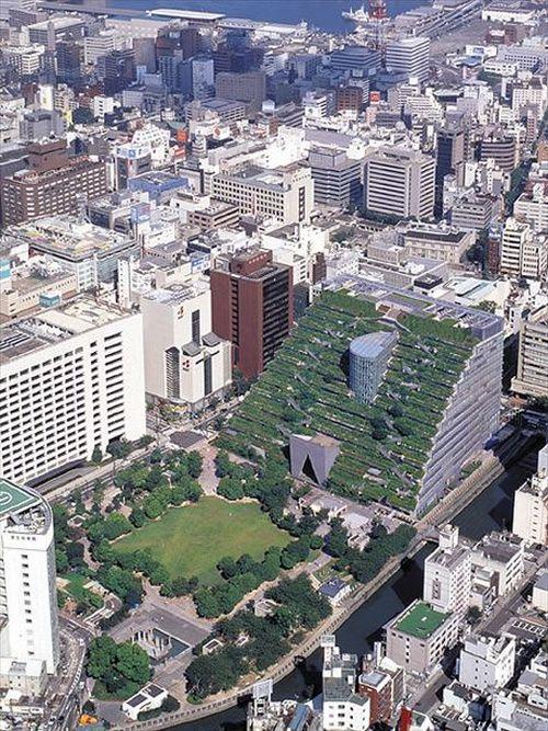 Зелёная крыша-фасад в г.Фукуёка, Япония. Фото с сайта www.webpark.ru