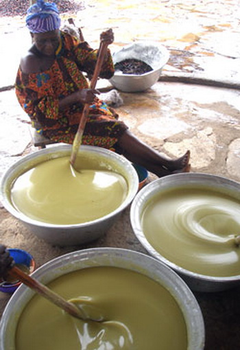 Африканская женщина готовит масло из орехов масляного дерева. Фото:  hempgoods4you.com