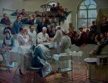 Показательная операция в клинике Пирогова. Художник не известен. Фото garbuzenko.narod.ru
