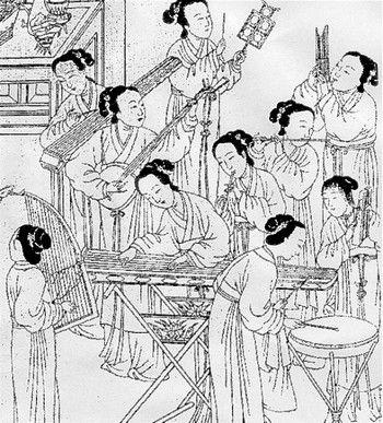 Древние китайская гравюра с придворными женщинами, играющими на музыкальных инструментах. Фото: Public Domain Image