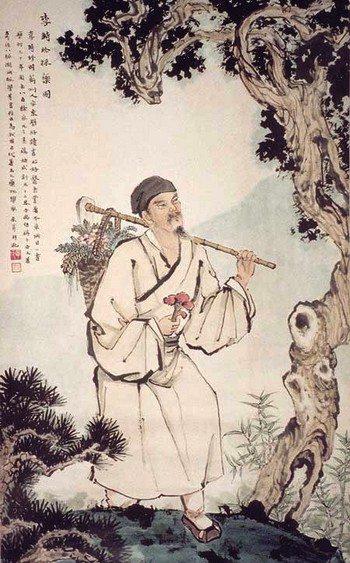 Портрет Ли Шичжэнь (1518-1593 гг. н.э.), Сбор лекарственных трав. Он был также известен, как Ли Дун Би и автор книги «Сборник лекарственных веществ». Иллюстрация предоставлена Чжан Цуйин