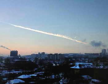 Падение метеорита в Челябинске. Фото: YURI KADOBNOV/AFP/Getty Images