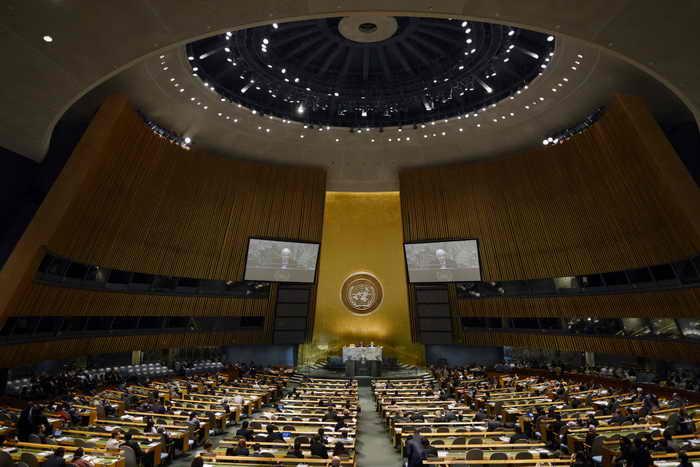 Положительная тенденция в отношении отказа государств от смертной казни наблюдается в мире, об этом заявил генеральный секретарь ООН Пак Ги Мун на специальном заседании в штаб-квартире ООН в Нью-Йорке. Фото: TIMOTHY A. CLARY/AFP/GettyImages