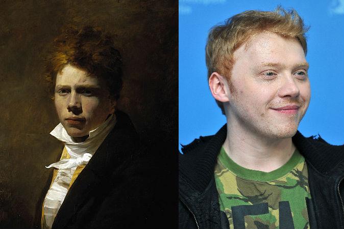 Слева: автопортрет шотландского живописца Дэвида Уилки 1804 года. Справа: актёр Руперт Гринт в феврале 2013 года. Фото: Pascal Le Segretain/Getty Images