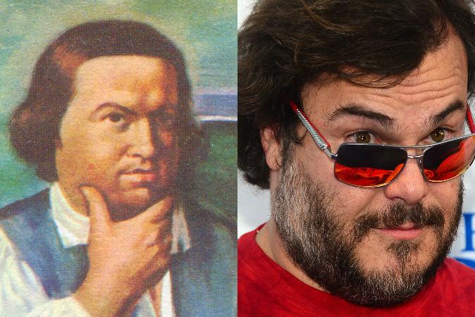 Слева: Пол Ревир, живший в 1735-1818 годах американский революционер. Фото:Shutterstock* Справа: американский актёр Джек Блэк, фото от 21 августа 2013 года. Фото: Frederic J. Brown/AFP/Getty Images