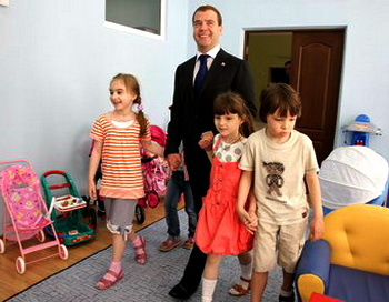 В День защиты детей Дмитрий Медведев посетил  детский сад Ростова-на-Дону. Фото: с сайта президента страны