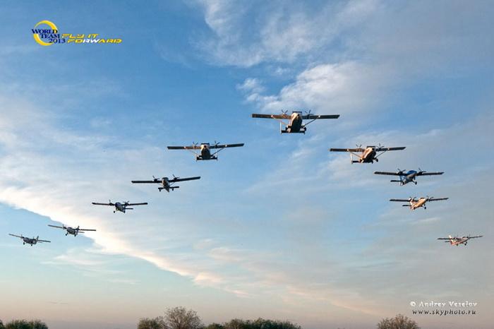 Строй самолётов перед выброской. Фото предоставлено Татьяной Полянской