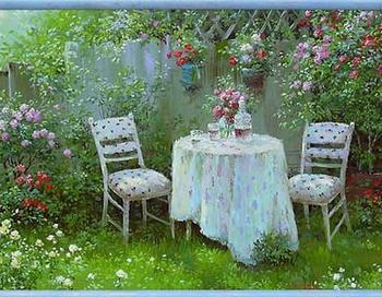 В саду. Картина украинского художника Виталия Тарасова. Фото с сайта www.liveinternet.ru