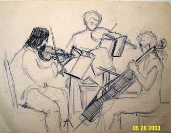 Струнное трио Атлантики: (слева направо) Джон Тот (скрипка). Эрик Шумский (альт), Элизабет Брантон  (виолончель). Фото с сайта theepochtimes.com