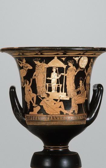 Поклонение: кувшин воронкообразной формы с красными фигурами 400-380 гг. до н.э. на выставке Культурного центра Онассис «Поклонение женщинам». Фото с сайта theepochtimes.com
