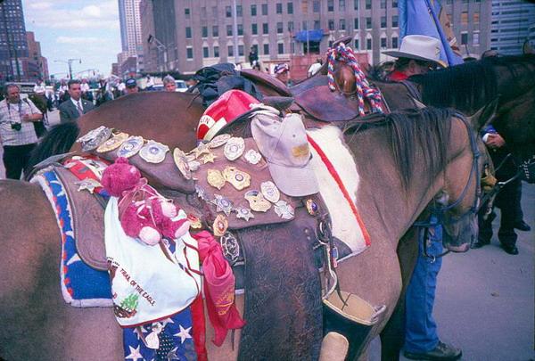 Церемониальная  лошадь: лошадь без всадника с седлом, покрытым  значками и памятными сувенирами,  подаренными людьми  во время поездки по всей Америке от штата Оклахома до Всемирного торгового центра. Фото с сайта  theepochtimes.com
