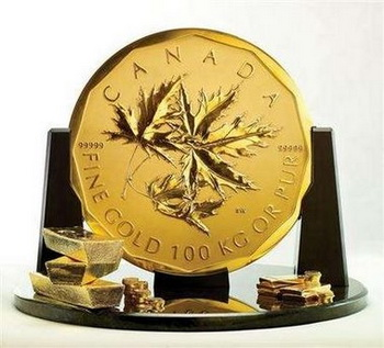 Самая большая золотая монета в мире. Фото с сайта blog.adamnash.com