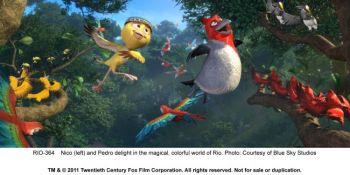 СВОБОДА ПОЛЕТА: (LR) Нико (Джейми Фокс) и Педро (will.i.am) восторгают в волшебном, красочном мире 3-D анимации - «Рио». (Blue Sky Studios and Twentieth Century Fox Film Corporation)