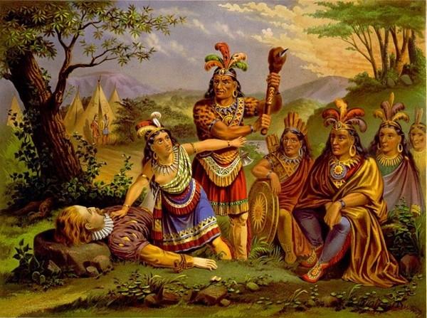 На картине изображен Покахонтас, спасающая капитана Смита. (Библиотека Англиканской церкви; Малькольм Эндрюс; Фрэнк Лин).