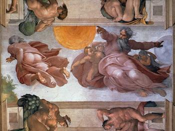 «Бог, создающий Землю и размещающий Солнце и Луну на небе» после реставрации». Фото с сайта ru.wikipedia.org