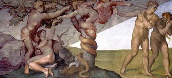 Составное изображение «Грехопадения и изгнания Адама и Евы» Микеланджело. Слева вверху — до реставрации, справа внизу — после. Фото с сайта upload.wikimedia.org