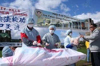 Сцена, изображающая извлечение органов у практикующих Фалуньгун в Китае. Оттава. Фото Ное Чартиер