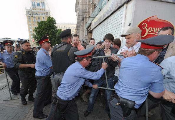 Марш несогласных  в Москве, 31 мая 2011. Фото:  ALEXANDER NEMENOV/AFP/Getty Images