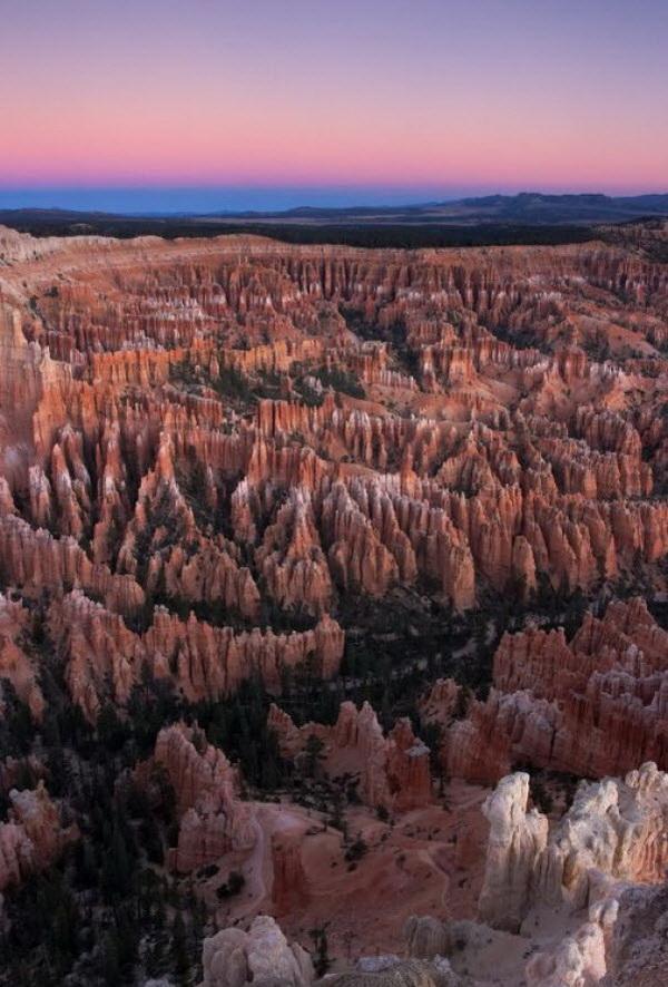 Красные, оранжевые и белые цвета горных пород в каньоне Брайс представляют захватывающее зрелище, особенно на восходе или закате солнца. Фото: Джейсон Сэмпсон