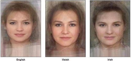 «Стандартное лицо»  Англии, Уэльса, Ирландии (слева направо). Фото:  sohu.com