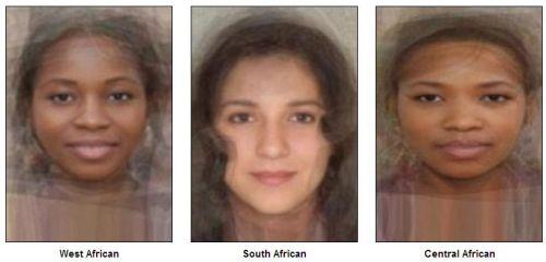 «Стандартное лицо»  Западной Африки, Южной Африки, Центральной Африки  (слева направо). Фото:  sohu.com