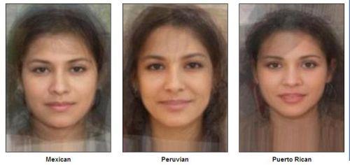 «Стандартное лицо»   Мексики, Перу, Пуэрто-Рико  (слева направо). Фото:  sohu.com