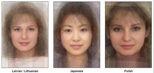 «Стандартное лицо»  Латвии, Японии, Польши (слева направо). Фото:  sohu.com