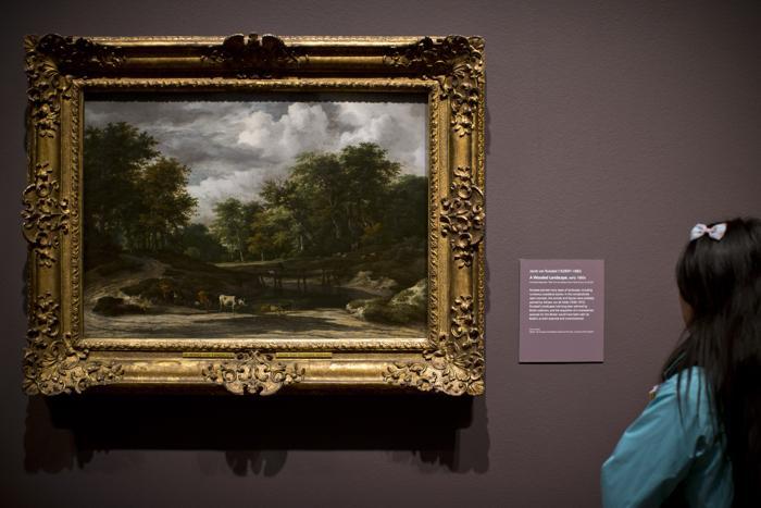 Картина «Лесной Пейзаж» Якоба ван Рейсдала начала 1660-х гг. на выставке «Рождение коллекции» в Национальной галерее Лондона 21 мая 2013 года. Фото: Dan Kitwood/Getty Images for Barber Institute of Fine Arts
