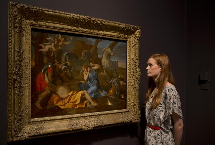 Картина Николя Пуссена «Танкред и Эрминия» 1634 года  на выставке «Рождение коллекции» в Национальной галерее Лондона 21 мая 2013 года. Фото: Dan Kitwood/Getty Images for Barber Institute of Fine Arts