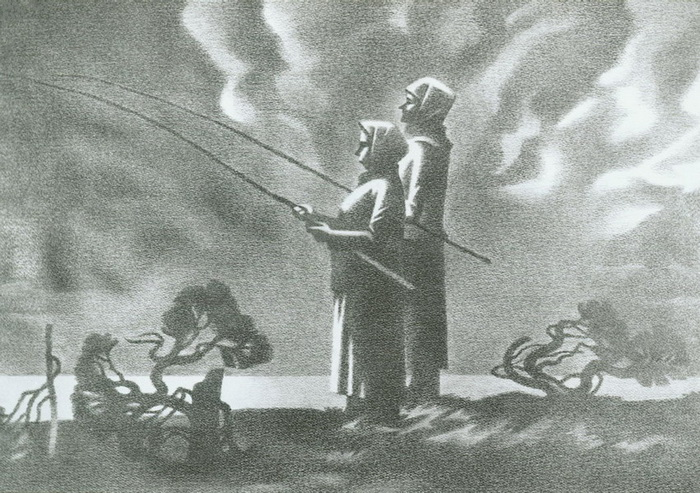 Рыбаки, рисунок