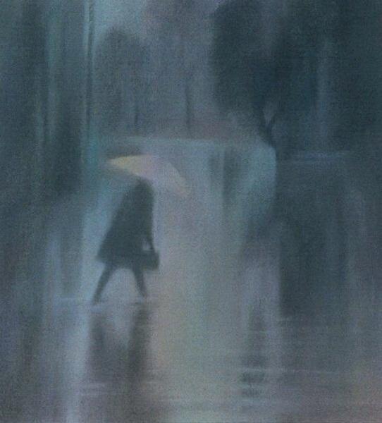 Дождь, пастель
