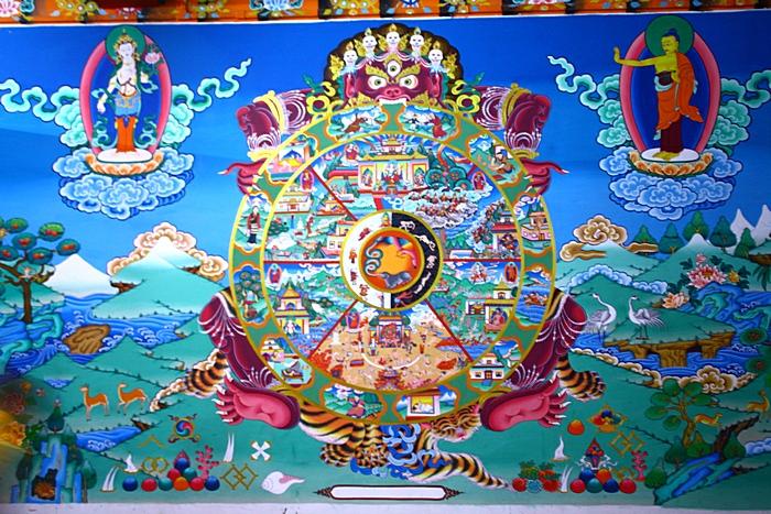 Роспись стены буддийского храма в Калимпонге. Дарджилинг.Darjeeling. Фото: Сима Петрова/Великая Эпоха (The Epoch Times)