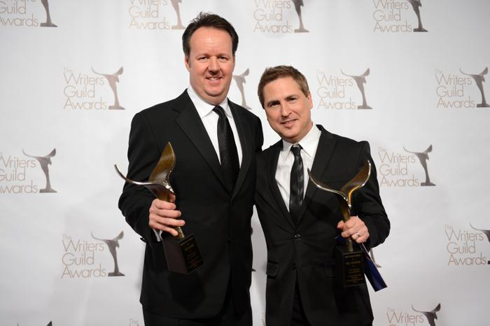 Писатели Дэйв Бун и Пол Гринберг на вручении премии Гильдии писателей США. Фото: Jason Kempin/Getty Images for WGAw