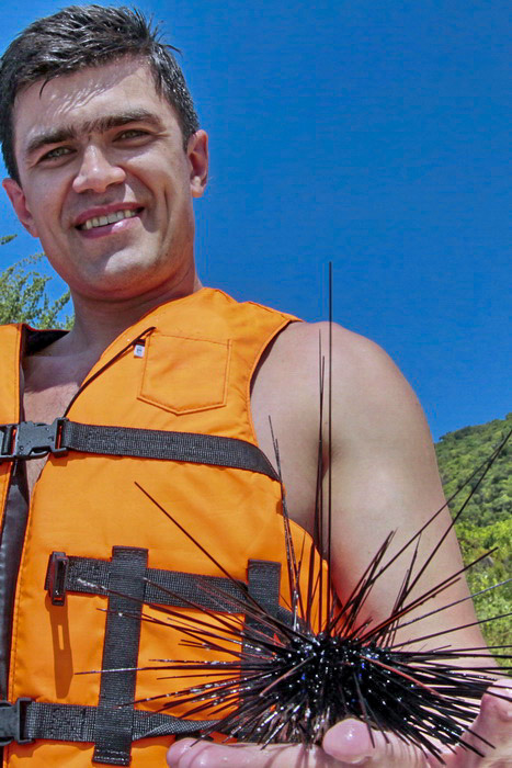 Морской ёж в руках у туриста. Фото: Николай Карпов/Великая Эпоха (The Epoch Times)