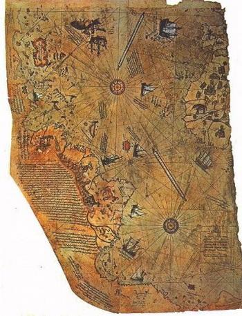 Таинственная карта Пири-реиса, точно изображающая Южную Америку и часть Антарктиды, которые не были изучены на момент создания карты в 1513 г. Фото: Professor Dutch/University of Wisconsin