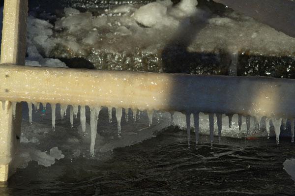 Крещенские купания на Неве.Оледенелые ступени сходней. Фото: Лора Ларсиа/Великая Эпоха/The Epoch Times