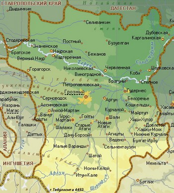 Карта Чеченской республики. Фото: russiamarch.ru