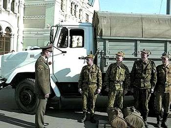 Московские призывники перед отправкой к месту службы. Фото с сайта Минобороны РФ