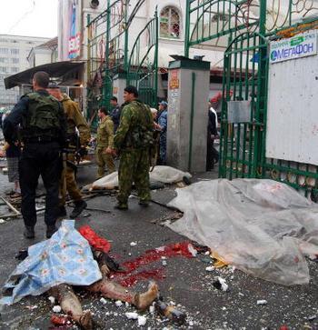 Теракт на центральном рынке во Владикавказе вызвал недовольство молодых осетин. Фото: STR/AFP/Getty Images