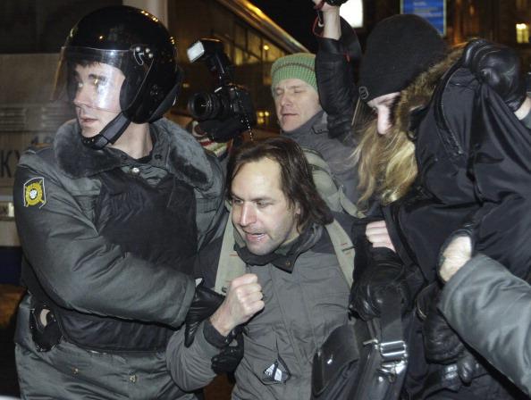 Митинг на Триумфальной площади в защиту 31 ст. Конституции провели правозащитники 31 января. Фото: Alexey SAZONOV/AFP/Getty Images