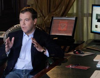 Микроблог Медведева сообщил  о встрече Президента с главными редакторами российских СМИ. Фото: VLADIMIR RODIONOV/AFP/Getty Images