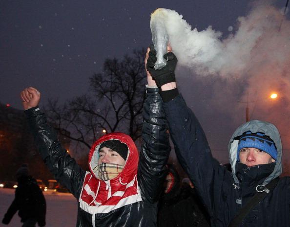 Новые столкновения фанатов с кавказцами ожидались  сегодня в Москве. Фото: ALEXEY SAZONOV/AFP/Getty Images
