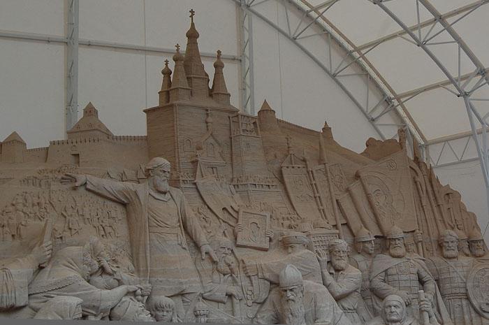 Скульптура из песка «Воззвание Минина». Фото: Николай Карпов/Великая Эпоха (The Epoch Times)