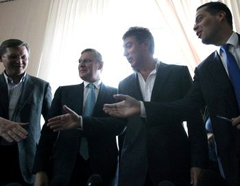 Сопредседателями новой партии стали: Владимир Рыжков, Владимир Милов, Михаил Касьянов и Борис Немцов. Фото с сайта newtimes.ru